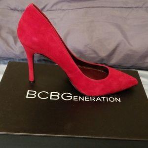 BCBG red suede heels